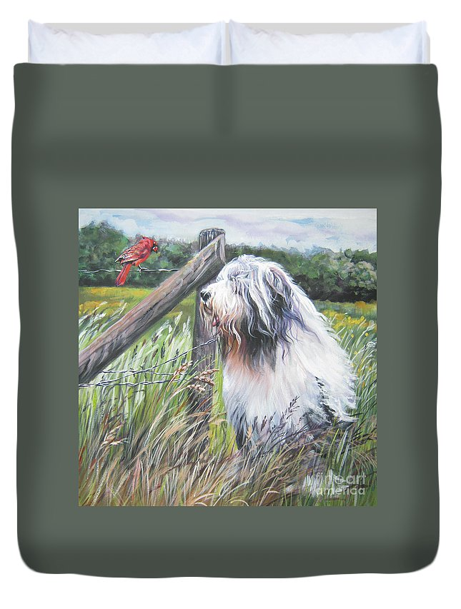 Bearded Collie Duvet Cover featuring the painting Bearded Collie With Cardinal by Lee Ann Shepard