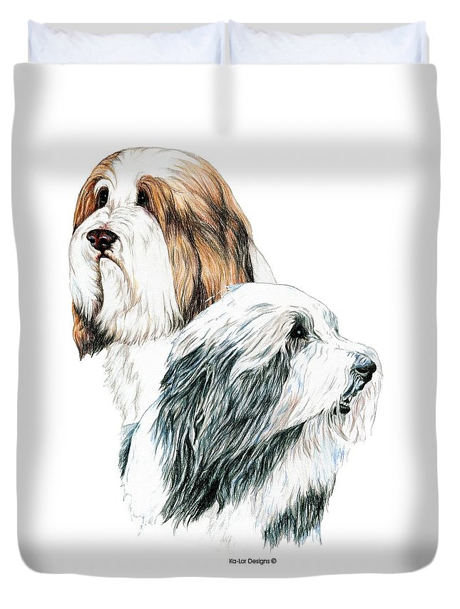 Bearded Collies Duvet Cover featuring the drawing Bearded Collies by Kathleen Sepulveda