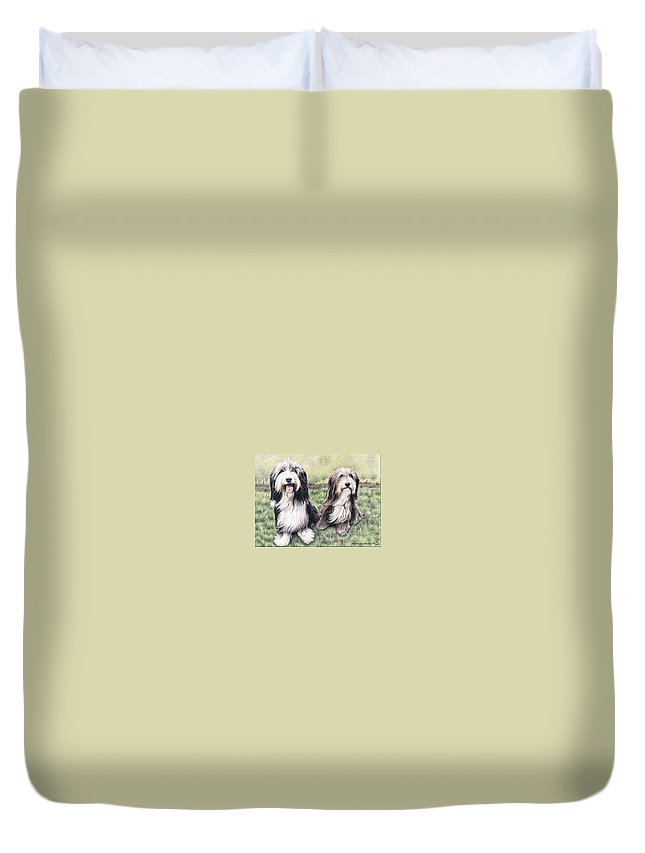 Dogs Duvet Cover featuring the drawing Bearded Collies by Nicole Zeug
