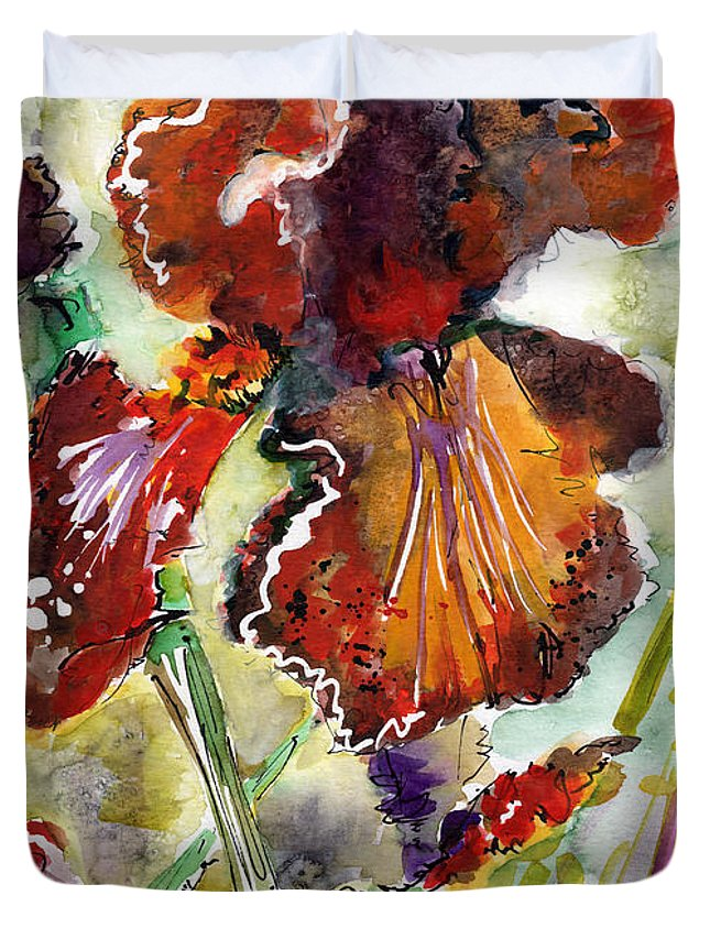 Flowers Duvet Cover featuring the painting Bearded Iris Brown Sally Watercolor by Ginette Callaway