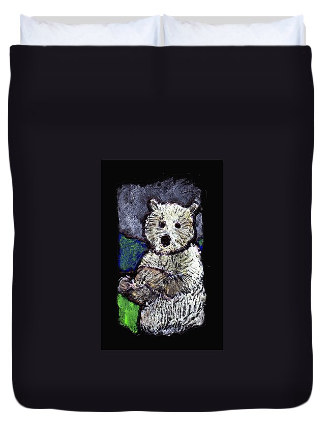 Bear Duvet Cover featuring the painting Bearly Scary by Wayne Potrafka