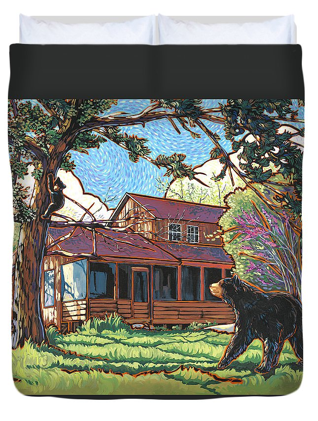 Bear Duvet Cover featuring the painting Bears At Barton Cabin by Nadi Spencer