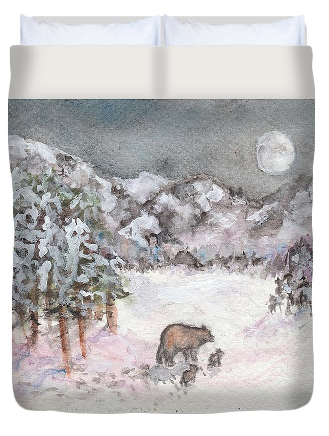 Winter Duvet Cover featuring the painting Bears In Winter by Jennie Hallbrown