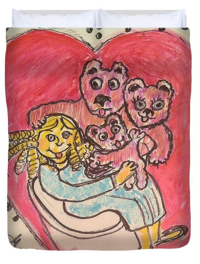 Bear Duvet Cover featuring the painting Bear's Love's Hugs by Geraldine Myszenski