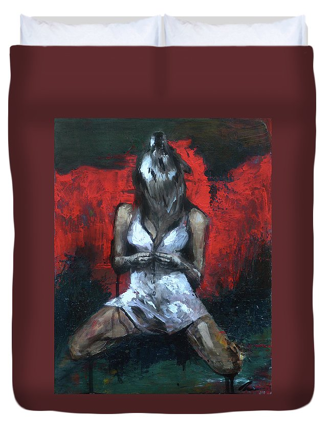Wolf Duvet Cover featuring the painting Beast II by Melissa Peterson
