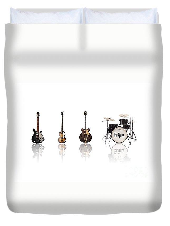 The Beatles Duvet Cover featuring the digital art Beat of Beatles by Deer Devil Designs