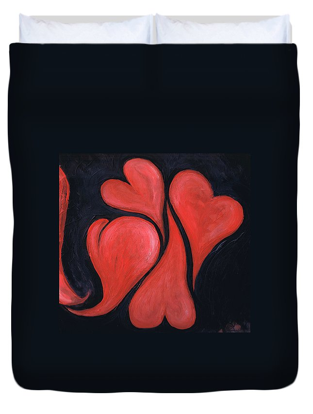 Hearts Duvet Cover featuring the painting Beating Hearts by Nancy Mueller