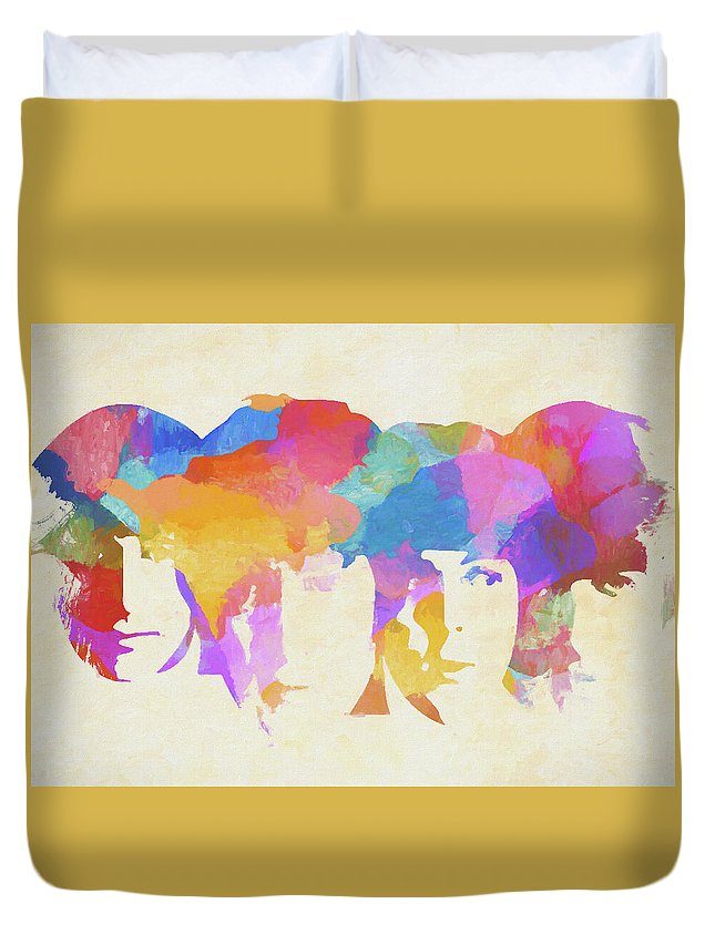 The Beatles Watercolor Duvet Cover featuring the painting Beatles Colorful Abstract by Dan Sproul
