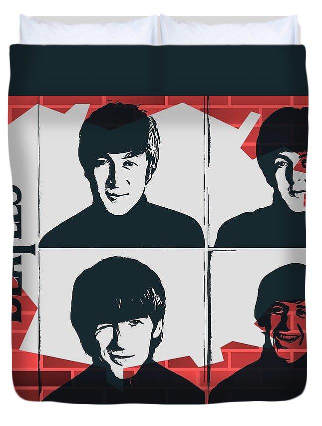 Beatles Graffiti Tribute Duvet Cover featuring the digital art Beatles Graffiti Tribute by Dan Sproul