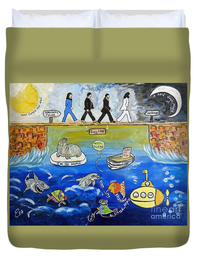 The Beatles Duvet Cover featuring the painting Beatles Song Titles Original Painting Characterization by Ella Kaye Dickey