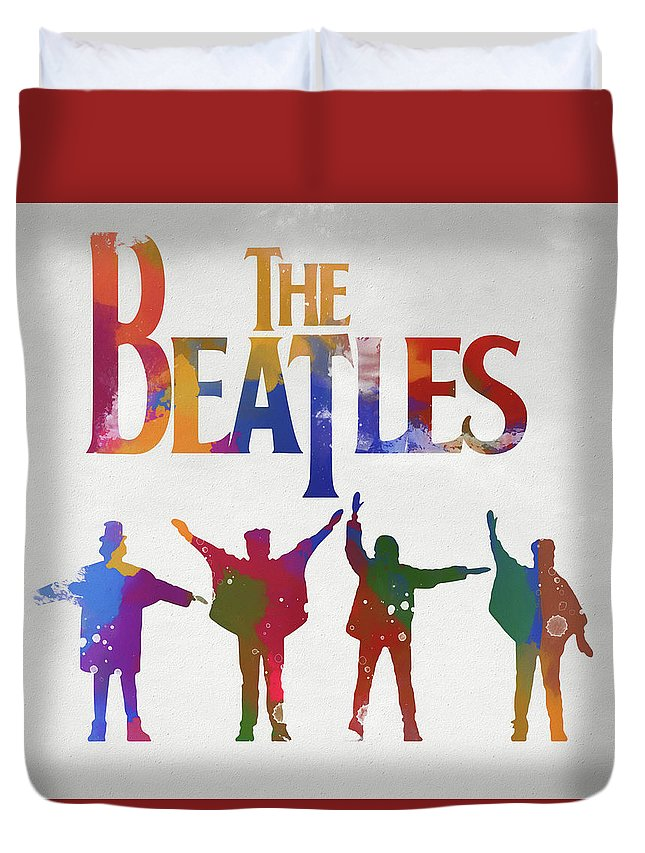 Beatles Watercolor Poster Duvet Cover featuring the painting Beatles Watercolor Poster by Dan Sproul