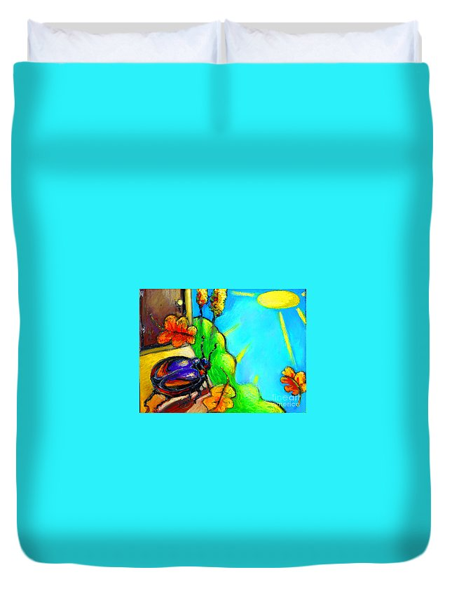 Beetle Duvet Cover featuring the painting Beattle by Angelina Marino