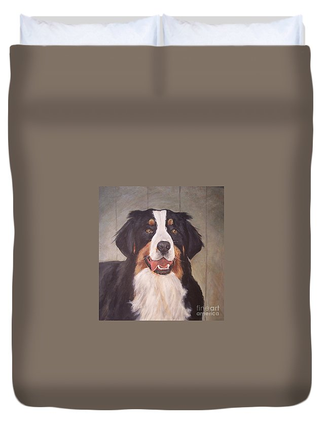 Dogs Duvet Cover featuring the painting Beau by Elizabeth Ellis