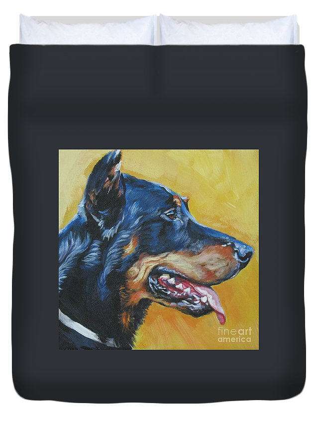 Beauceron Duvet Cover featuring the painting Beauceron by Lee Ann Shepard