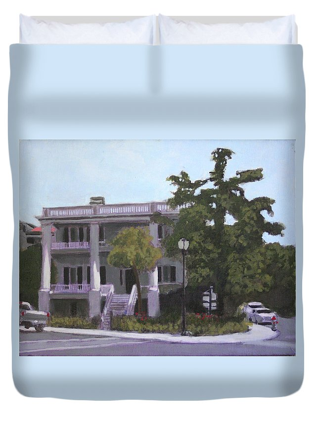 Stately Mansion Duvet Cover featuring the painting Beaufort Breeze by David Zimmerman