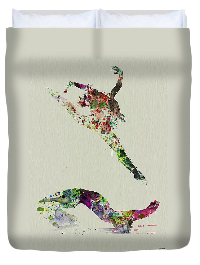 Ballerina Duvet Cover featuring the painting Beautiful Ballet by Naxart Studio