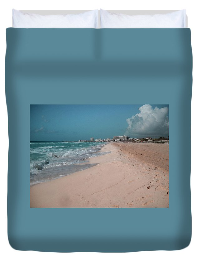Beach Duvet Cover featuring the digital art Beautiful beach in Cancun, Mexico by Nicolas Gabriel Gonzalez