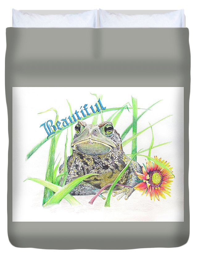 Frogs Duvet Cover featuring the drawing Beautiful by Becky Brooks