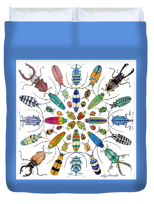 Insects Duvet Cover featuring the painting Beautiful Beetles by Lucy Arnold