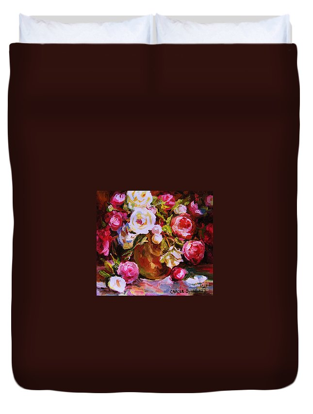 Roses Duvet Cover featuring the painting Beautiful Bouquet by Carole Spandau