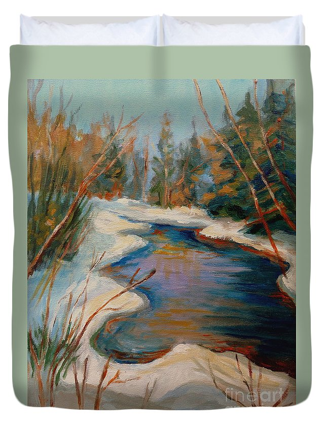 Beautiful Brook In Winter Duvet Cover featuring the painting Beautiful Brook In Winter by Carole Spandau