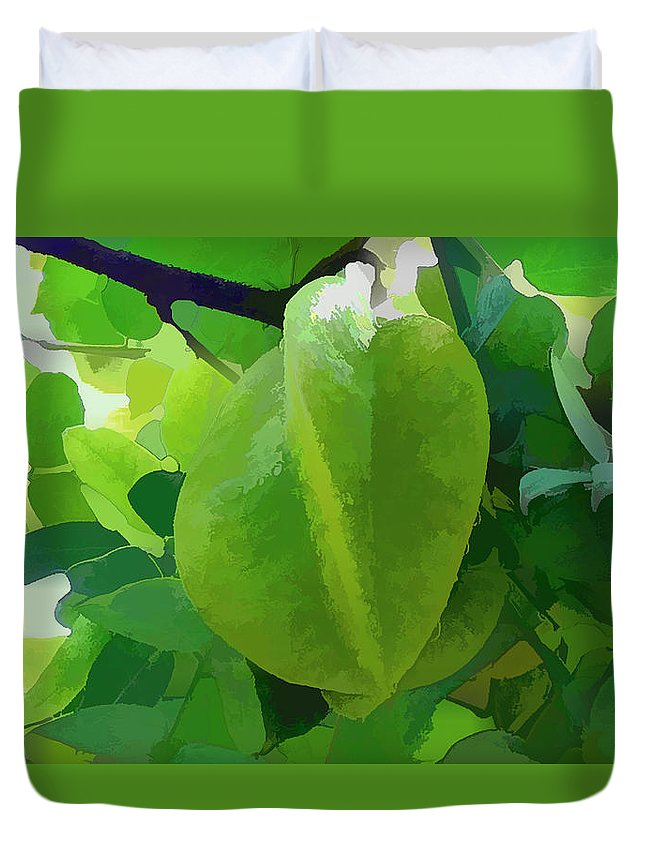 Star Apple Fruit On The Tree Duvet Cover featuring the painting Beautiful Carambola Fruit Tree by Jeelan Clark
