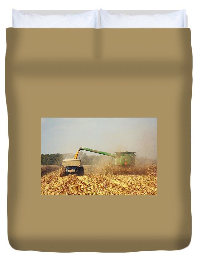 Corn Harvest Duvet Cover featuring the photograph Beautiful Corn Harvest by Goldie Pierce