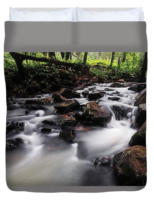 Stream Duvet Cover featuring the photograph Beautiful Creek In Western Ghats Region Of Karnataka State India by Vishwanath Bhat