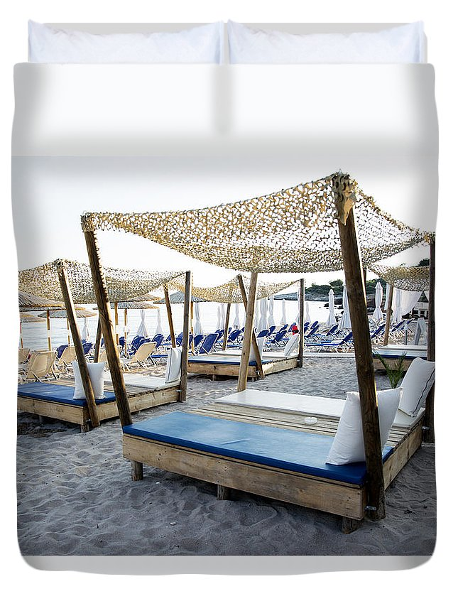 Beach Duvet Cover featuring the photograph Beautiful Designed Sunbeds At Sunset by Newnow Photography By Vera Cepic