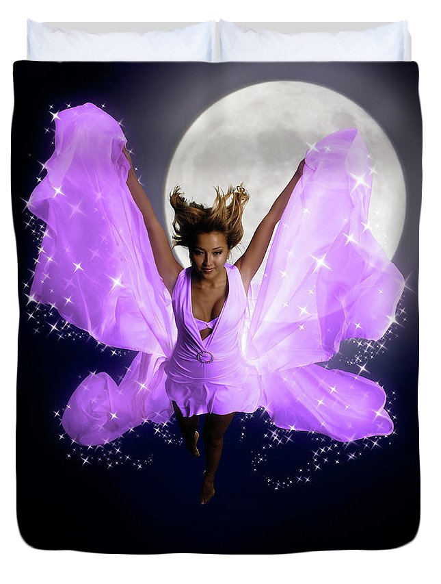 Woman Duvet Cover featuring the photograph Beautiful Fairy by Oleksiy Maksymenko