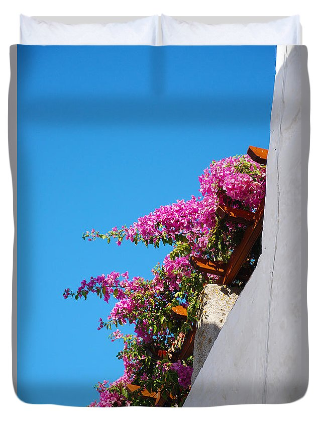 Patmos Duvet Cover featuring the photograph Beautiful Flowering Vine On Patmos Island Greece by Just Eclectic