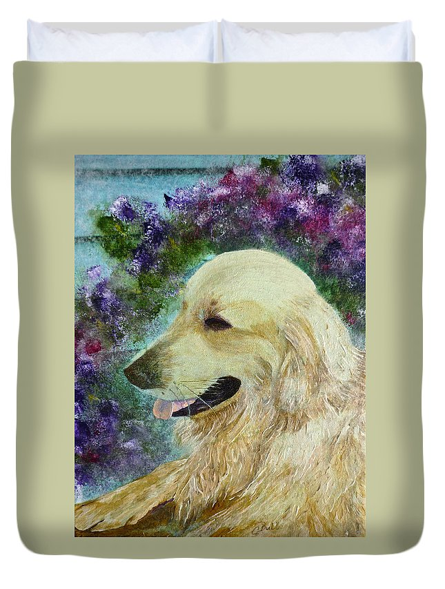 Golden Retriever Duvet Cover featuring the painting Beautiful Golden by Claire Bull