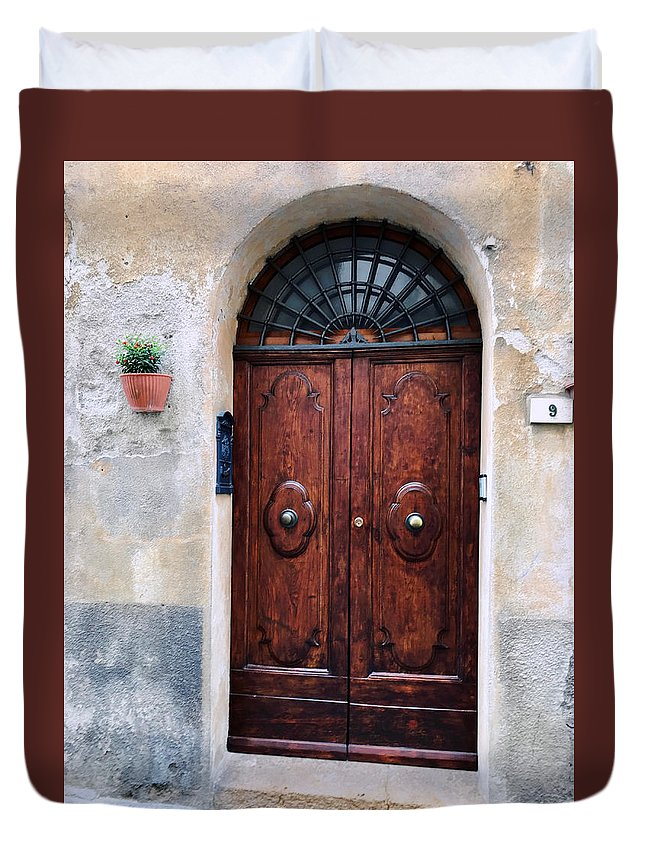 Beautiful Duvet Cover featuring the photograph Viaje Beautiful Italian Door Volterre by Femina Photo Art By Maggie