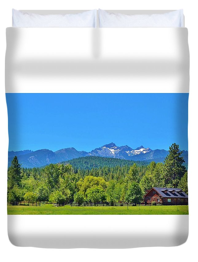 Montana Duvet Cover featuring the photograph Beautiful Montana Landscape With Log Cabin Ranch House by Cherie Cokeley