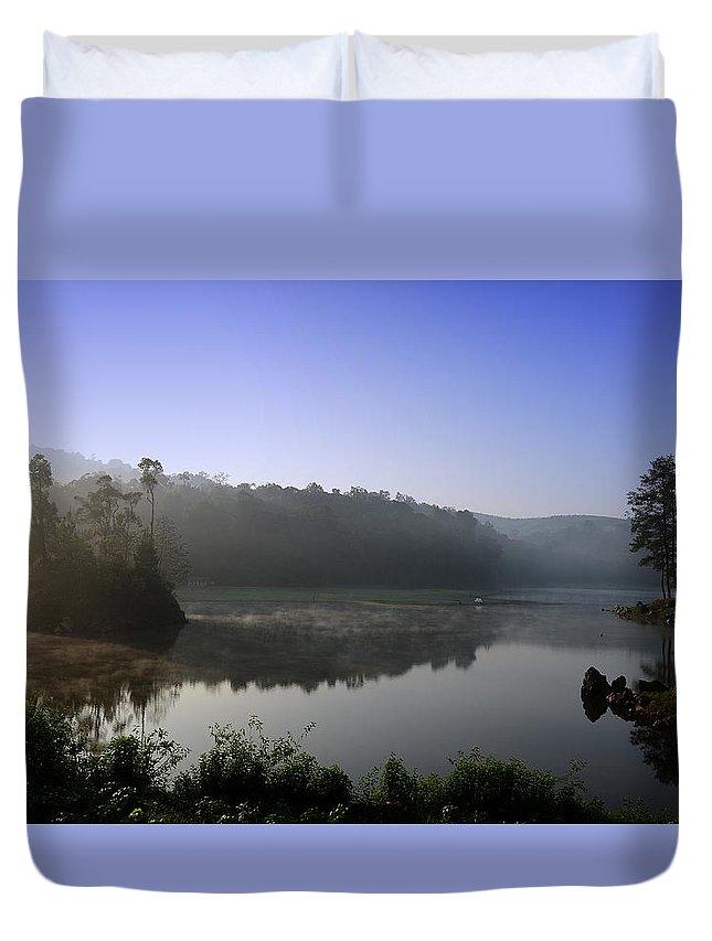 Lake Duvet Cover featuring the photograph Beautiful Morning by Irdan nofriza Nasution