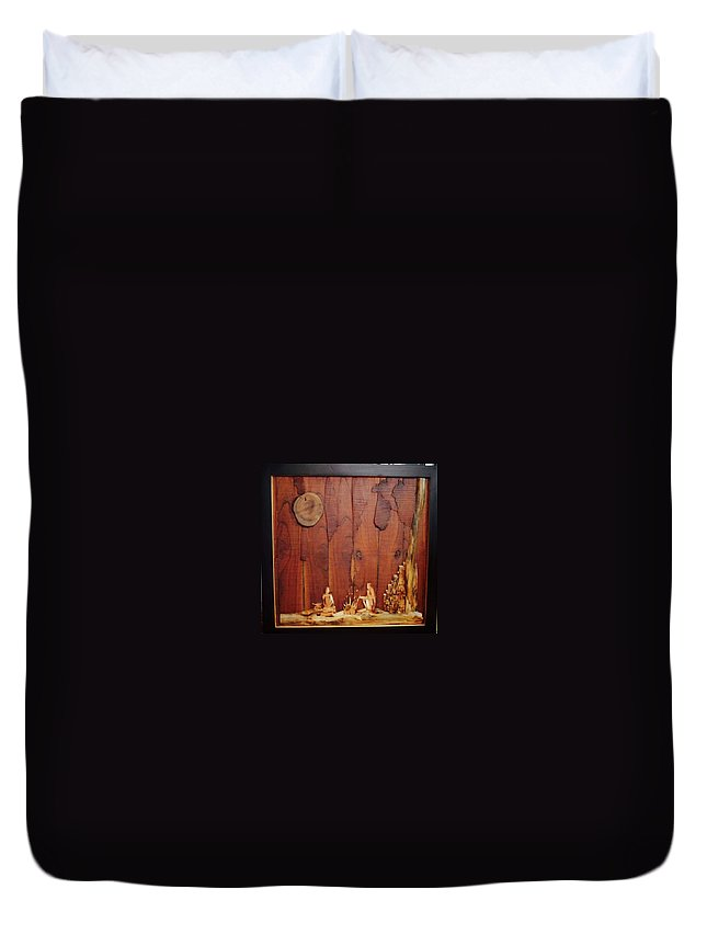 Duvet Cover featuring the painting Beautiful Night Artwork With Wooden Waste by Pooja Shirke