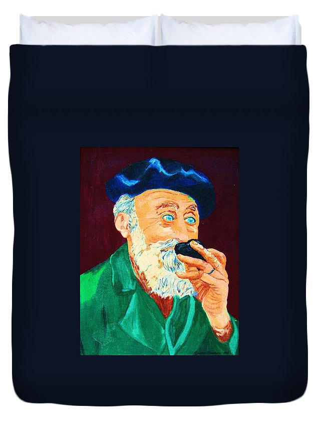 Portraits Duvet Cover featuring the painting Beautiful Old Blue Eyes by Carole Spandau