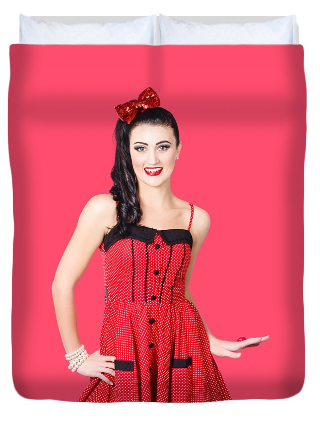 Pin-up Duvet Cover featuring the photograph Beautiful Pinup Girl With Pretty Smile by Jorgo Photography - Wall Art Gallery