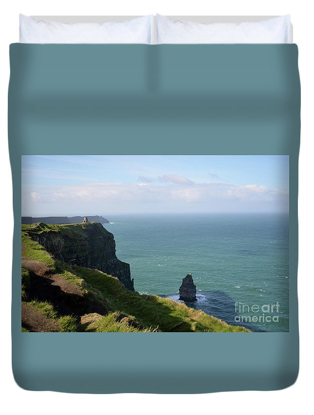 Cliffs-of-moher Duvet Cover featuring the photograph Beautiful Rocky Towering Sea Cliffs Along The Cliff's Of Moher by DejaVu Designs
