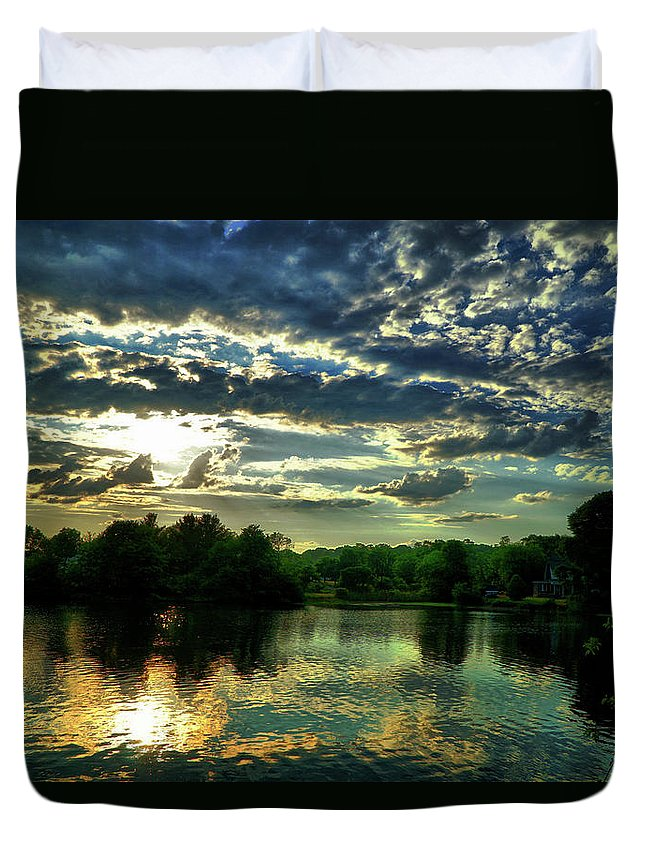Sunset Duvet Cover featuring the digital art Beautiful Scene Before Sunset by Lilia D