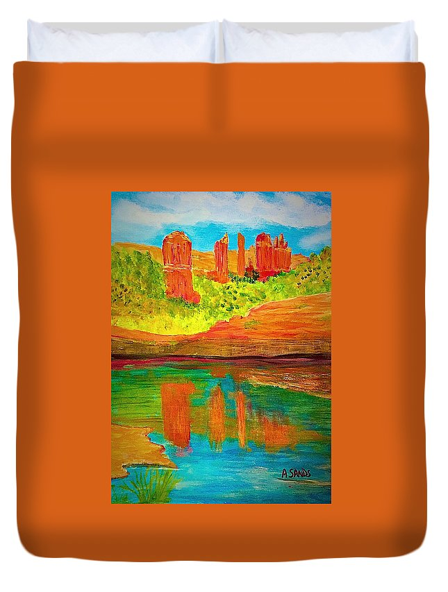 Anne Sands Duvet Cover featuring the painting Beautiful Sedona by Anne Sands