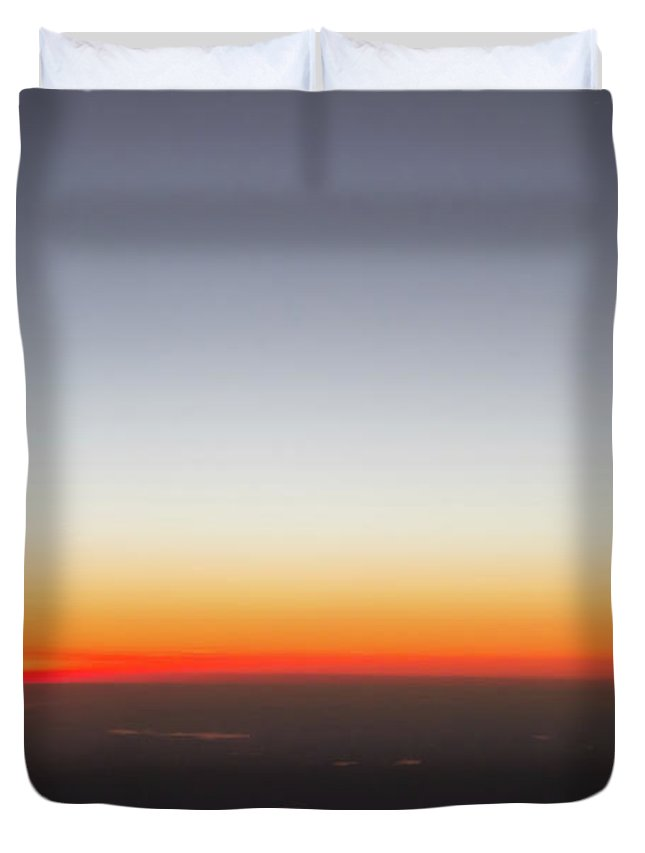View Duvet Cover featuring the photograph Beautiful Sunset View From An Airplane Over Land by Alex Grichenko