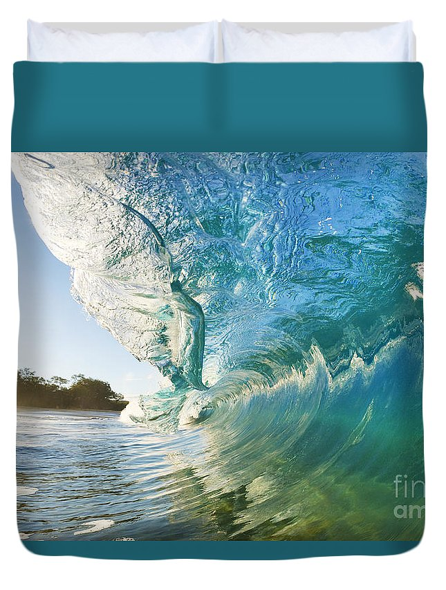 Aqua Duvet Cover featuring the photograph Beautiful Wave And Sunlight by MakenaStockMedia