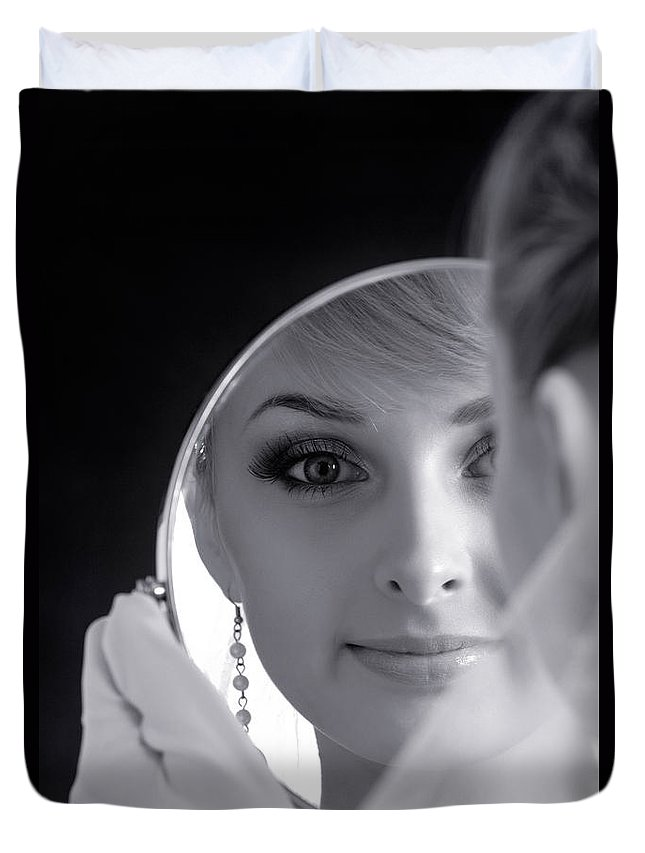 Bride Duvet Cover featuring the photograph Beautiful Woman In Bridal Veil Looking At A Mirror by Oleksiy Maksymenko