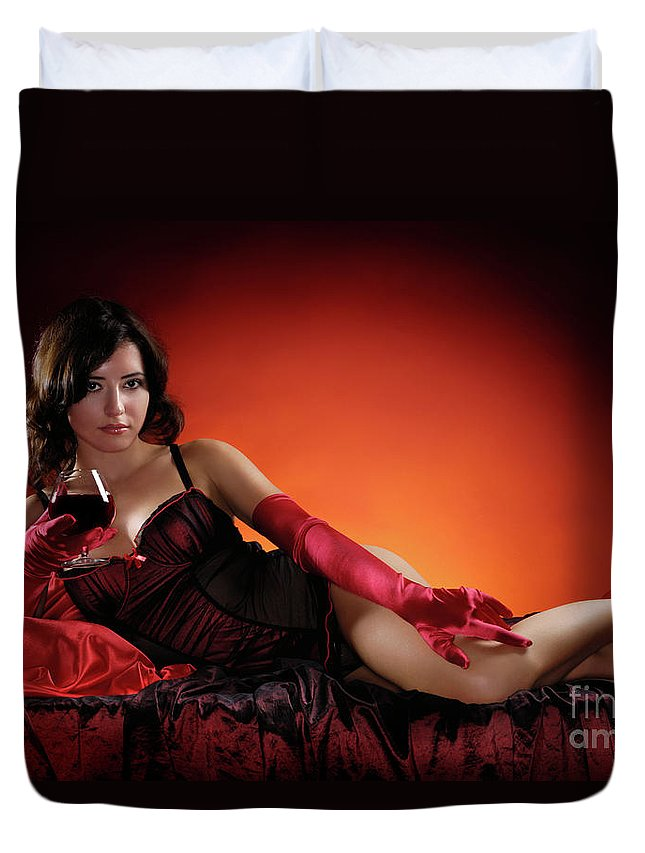 Woman Duvet Cover featuring the photograph Beautiful Woman With A Glass Of Wine by Oleksiy Maksymenko