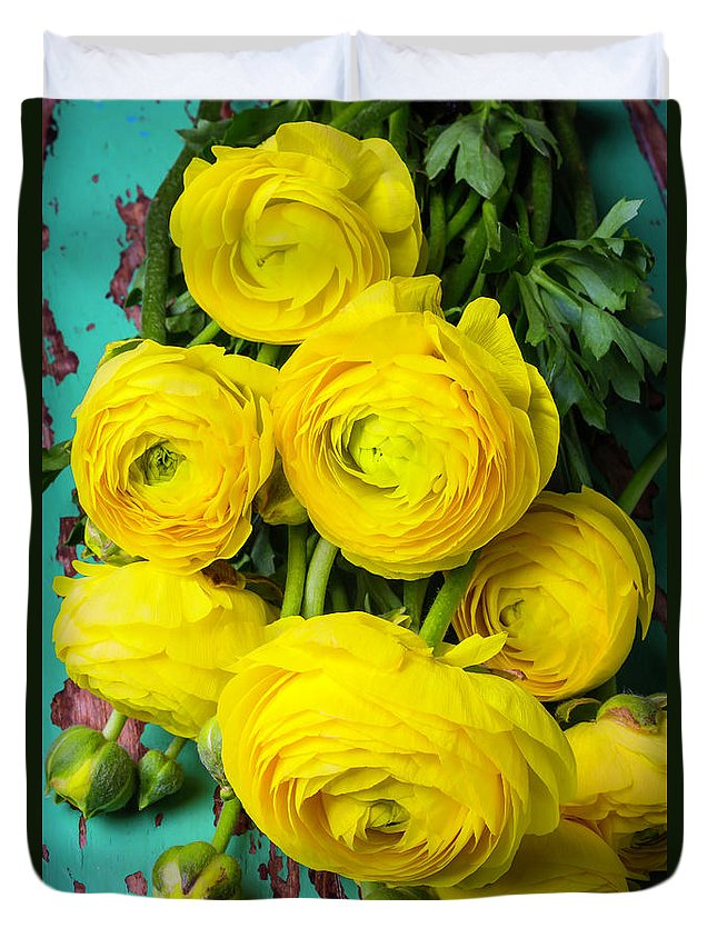 Yellow Duvet Cover featuring the photograph Beautiful Yellow Ranunculus by Garry Gay