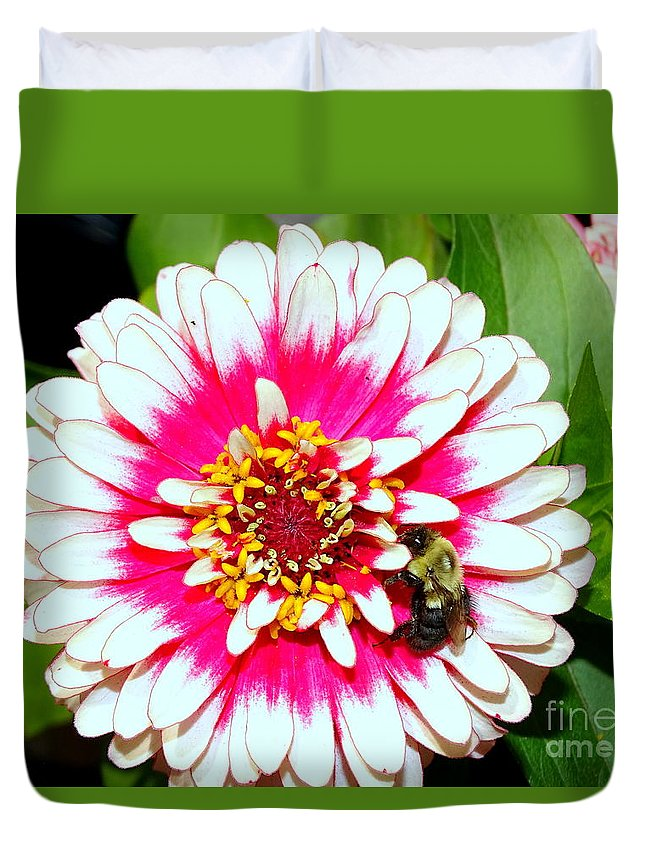 Nature Duvet Cover featuring the photograph Beauty And The Bee #1 by Ed Weidman