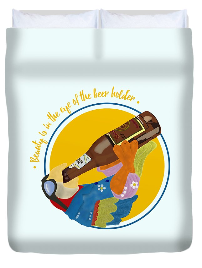 Beauty And The Beer Duvet Cover featuring the digital art Beauty And The Beer by Priscilla Wolfe