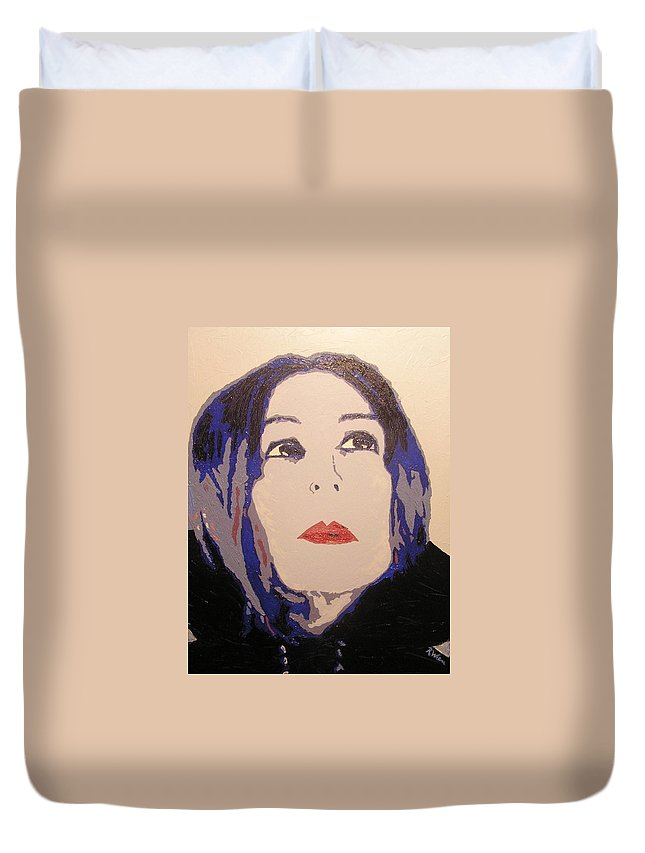Portrait Duvet Cover featuring the painting Beauty Beyond the Blue by Ricklene Wren
