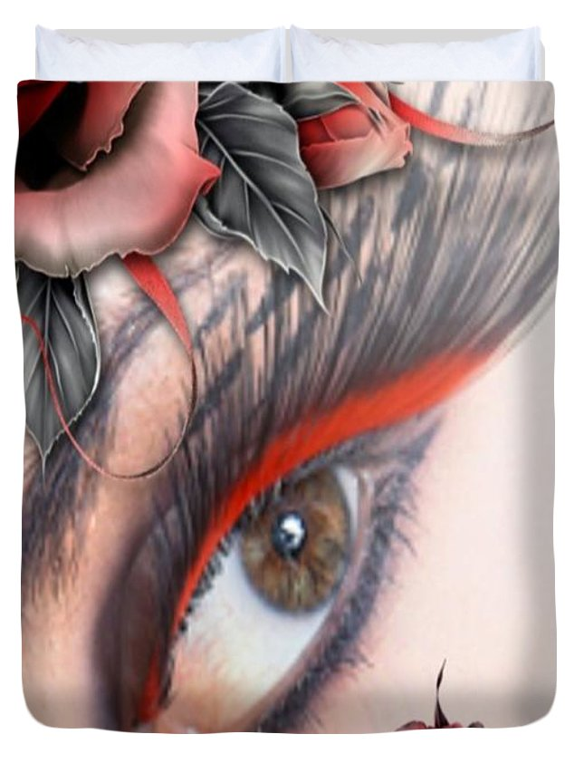 Eyes Duvet Cover featuring the photograph Beauty Beyond The Rose by G Berry